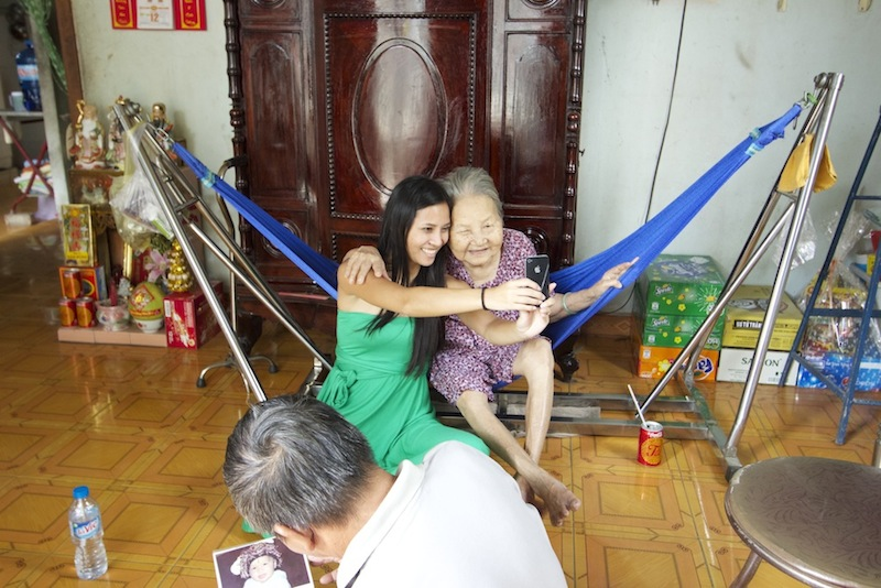 Taking a selfie with Ba Noi (Grandma on dad's side) in Ho Chi Minh City, Vietnam